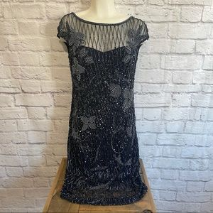THEIA Beautiful Beaded Sequin Embellished Black Dress